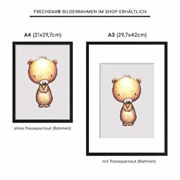 Frechdax® 3er Set Kinderzimmer Babyzimmer Poster Bilder DIN A4   Mädchen Junge Deko   Dekoration Kinderzimmer   Waldtiere REH Fuchs Hase (3er Set Sterne,Fuchs,Bär,REH) - 4