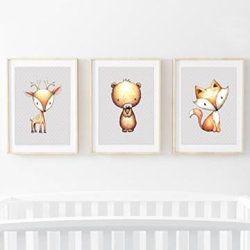 Frechdax® 3er Set Kinderzimmer Babyzimmer Poster Bilder DIN A4   Mädchen Junge Deko   Dekoration Kinderzimmer   Waldtiere REH Fuchs Hase (3er Set Sterne,Fuchs,Bär,REH) - 6