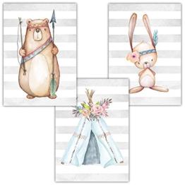 Frechdax® 3er Set Kinderzimmer Babyzimmer Poster Bilder DIN A4 | Mädchen Junge Deko | Dekoration Kinderzimmer | Waldtiere REH Fuchs Hase (3er Set Indianer,Bär,Tipi,Hase) - 1