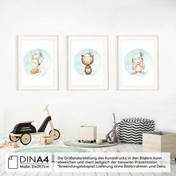 Frechdax® 3er Set Kinderzimmer Poster Babyzimmer Bilder DIN A4 | Mädchen Junge Deko | Dekoration Kinderzimmer | Waldtiere REH Fuchs Hase (3er Set Mintgrün, Boho, Tiermotive) - 4