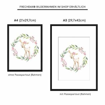 Frechdax® 3er Set Kinderzimmer Poster Babyzimmer Bilder DIN A4 | Mädchen Junge Deko | Dekoration Kinderzimmer | Waldtiere REH Fuchs Hase (3er Set Kranz, Blumen, Waldtiere) - 4