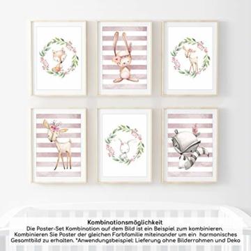 Frechdax® 3er Set Kinderzimmer Poster Babyzimmer Bilder DIN A4 | Mädchen Junge Deko | Dekoration Kinderzimmer | Waldtiere REH Fuchs Hase (3er Set Kranz, Blumen, Waldtiere) - 6