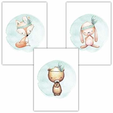 Frechdax® 3er Set Kinderzimmer Poster Babyzimmer Bilder DIN A4 | Mädchen Junge Deko | Dekoration Kinderzimmer | Waldtiere REH Fuchs Hase (3er Set Mintgrün, Boho, Tiermotive) - 1