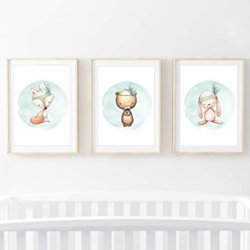 Frechdax® 3er Set Kinderzimmer Poster Babyzimmer Bilder DIN A4 | Mädchen Junge Deko | Dekoration Kinderzimmer | Waldtiere REH Fuchs Hase (3er Set Mintgrün, Boho, Tiermotive) - 2