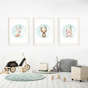 Frechdax® 3er Set Kinderzimmer Poster Babyzimmer Bilder DIN A4 | Mädchen Junge Deko | Dekoration Kinderzimmer | Waldtiere REH Fuchs Hase (3er Set Mintgrün, Boho, Tiermotive) - 3