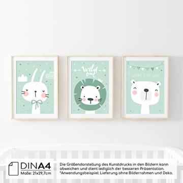 frechdax® 3er Set Kinderzimmer Poster Babyzimmer DIN A4 ohne Bilderrahmen | Mädchen Junge | Kinderposter Kunstdruck im skandinavischen Stil | schwarz/Weiss oder bunt | (Set-28) - 2