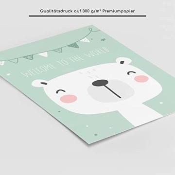 frechdax® 3er Set Kinderzimmer Poster Babyzimmer DIN A4 ohne Bilderrahmen | Mädchen Junge | Kinderposter Kunstdruck im skandinavischen Stil | schwarz/Weiss oder bunt | (Set-28) - 3