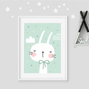 frechdax® 3er Set Kinderzimmer Poster Babyzimmer DIN A4 ohne Bilderrahmen | Mädchen Junge | Kinderposter Kunstdruck im skandinavischen Stil | schwarz/Weiss oder bunt | (Set-28) - 5