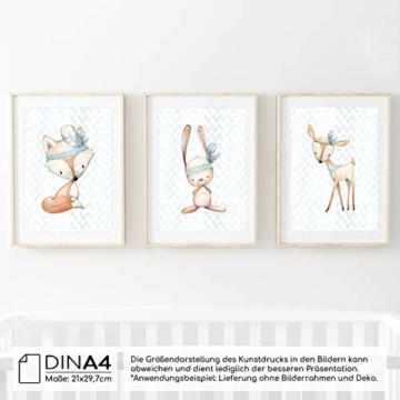 Frechdax® 3er Set Poster für Kinderzimmer und Babyzimmer Dekoration DIN A4   Mädchen Junge Deko   Dekoration Kinderzimmer   Waldtiere REH Fuchs Hase (3er Set Jungen, Hase, Fuchs, REH) - 2