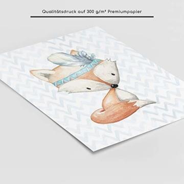 Frechdax® 3er Set Poster für Kinderzimmer und Babyzimmer Dekoration DIN A4   Mädchen Junge Deko   Dekoration Kinderzimmer   Waldtiere REH Fuchs Hase (3er Set Jungen, Hase, Fuchs, REH) - 3