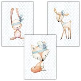 Frechdax® 3er Set Poster für Kinderzimmer und Babyzimmer Dekoration DIN A4 | Mädchen Junge Deko | Dekoration Kinderzimmer | Waldtiere REH Fuchs Hase (3er Set Jungen, Hase, Fuchs, REH) - 1