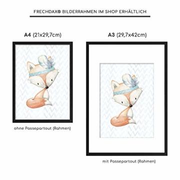 Frechdax® 3er Set Poster für Kinderzimmer und Babyzimmer Dekoration DIN A4   Mädchen Junge Deko   Dekoration Kinderzimmer   Waldtiere REH Fuchs Hase (3er Set Jungen, Hase, Fuchs, REH) - 4