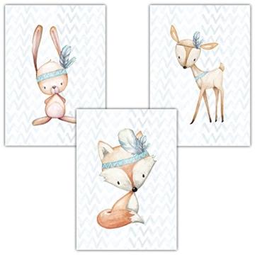 Frechdax® 3er Set Poster für Kinderzimmer und Babyzimmer Dekoration DIN A4   Mädchen Junge Deko   Dekoration Kinderzimmer   Waldtiere REH Fuchs Hase (3er Set Jungen, Hase, Fuchs, REH) - 1