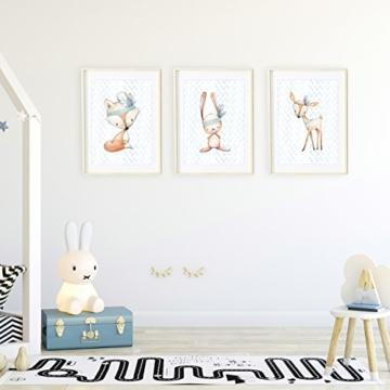 Frechdax® 3er Set Poster für Kinderzimmer und Babyzimmer Dekoration DIN A4   Mädchen Junge Deko   Dekoration Kinderzimmer   Waldtiere REH Fuchs Hase (3er Set Jungen, Hase, Fuchs, REH) - 6