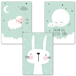 "Frechdax® 3er Set Poster Kinderzimmer Deko - Bilder Babyzimmer DIN A4 - Wandbilder Mädchen Junge - Kinderposter (3er Set""Mint, Mond, Hase"") - 1"
