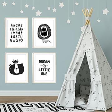 Frechdax® 4er Set Kinderzimmer Babyzimmer Poster Bilder DIN A4 | Mädchen Junge Deko | Dekoration Kinderzimmer | Waldtiere Safari Skandinavisch (4er Set Alphabet, Löwe, Dream Big) - 2