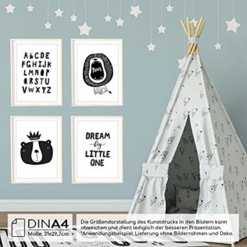 Frechdax® 4er Set Kinderzimmer Babyzimmer Poster Bilder DIN A4 | Mädchen Junge Deko | Dekoration Kinderzimmer | Waldtiere Safari Skandinavisch (4er Set Alphabet, Löwe, Dream Big) - 3