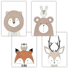 Frechdax® 4er Set Kinderzimmer Babyzimmer Poster Bilder DIN A4 | Mädchen Junge Deko | Dekoration Kinderzimmer | Waldtiere Safari Skandinavisch (4er Set Schlicht, Tiermotive, Eule, Fuchs) - 1