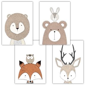 Frechdax® 4er Set Kinderzimmer Babyzimmer Poster Bilder DIN A4   Mädchen Junge Deko   Dekoration Kinderzimmer   Waldtiere Safari Skandinavisch (4er Set Schlicht, Tiermotive, Eule, Fuchs) - 1