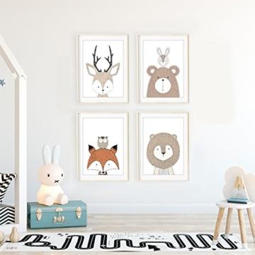 Frechdax® 4er Set Kinderzimmer Babyzimmer Poster Bilder DIN A4   Mädchen Junge Deko   Dekoration Kinderzimmer   Waldtiere Safari Skandinavisch (4er Set Schlicht, Tiermotive, Eule, Fuchs) - 2