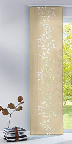 Gardinenbox Moderner Flächenvorhang Raumtrenner Schiebegardine Tendril aus hochwertigem Ausbrenner-Stoff mit Paneelwagen, 245x60 (HxB), Sand, 85611 - 1