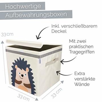 GLÜCKSWOLKE Kinder Aufbewahrungsbox I Spielzeugkiste mit Deckel und Griffe für Kinderzimmer I Spielzeug Box Igel (33x33x33) zur Aufbewahrung im Kallax Regal I Waldtiere Motiv (Eddi Erdigel) - 2