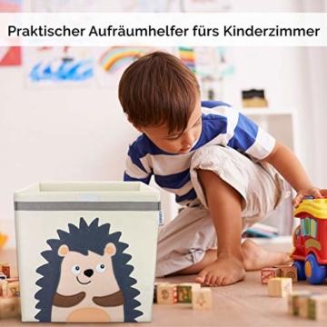 GLÜCKSWOLKE Kinder Aufbewahrungsbox I Spielzeugkiste mit Deckel und Griffe für Kinderzimmer I Spielzeug Box Igel (33x33x33) zur Aufbewahrung im Kallax Regal I Waldtiere Motiv (Eddi Erdigel) - 3