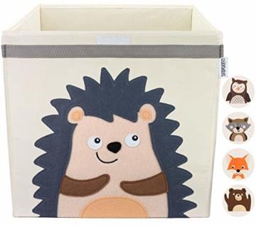 GLÜCKSWOLKE Kinder Aufbewahrungsbox I Spielzeugkiste mit Deckel und Griffe für Kinderzimmer I Spielzeug Box Igel (33x33x33) zur Aufbewahrung im Kallax Regal I Waldtiere Motiv (Eddi Erdigel) - 1