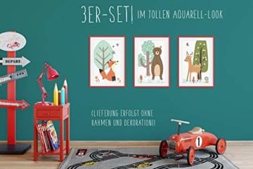 HappyWords® 3er Bilder Set - DIN A4 ohne Bilderrahmen | Bilder für Kinderzimmer & Bilder Babyzimmer | Junge Mädchen Baby | Kinder-Poster | Tiere Kinderbilder Kinderzimmer | (3er Set Waldtiere Retro) - 2