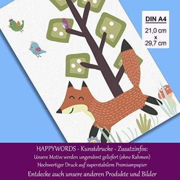 HappyWords® 3er Bilder Set - DIN A4 ohne Bilderrahmen | Bilder für Kinderzimmer & Bilder Babyzimmer | Junge Mädchen Baby | Kinder-Poster | Tiere Kinderbilder Kinderzimmer | 3er Set Waldtiere Retro 2 - 5