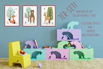HappyWords® 3er Bilder Set - DIN A4 ohne Bilderrahmen | Bilder für Kinderzimmer & Bilder Babyzimmer | Junge Mädchen Baby | Kinder-Poster | Tiere Kinderbilder Kinderzimmer | (3er Set Waldtiere Retro) - 3