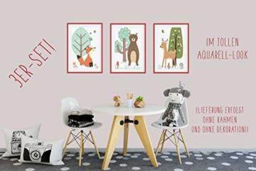 HappyWords® 3er Bilder Set - DIN A4 ohne Bilderrahmen | Bilder für Kinderzimmer & Bilder Babyzimmer | Junge Mädchen Baby | Kinder-Poster | Tiere Kinderbilder Kinderzimmer | (3er Set Waldtiere Retro) - 4