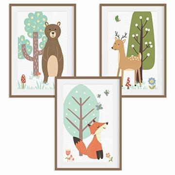 HappyWords® 3er Bilder Set - DIN A4 ohne Bilderrahmen | Bilder für Kinderzimmer & Bilder Babyzimmer | Junge Mädchen Baby | Kinder-Poster | Tiere Kinderbilder Kinderzimmer | (3er Set Waldtiere Retro) - 1