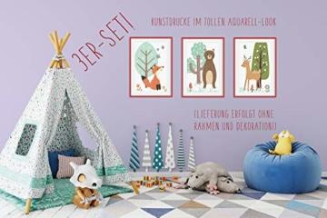 HappyWords® 3er Bilder Set - DIN A4 ohne Bilderrahmen | Bilder für Kinderzimmer & Bilder Babyzimmer | Junge Mädchen Baby | Kinder-Poster | Tiere Kinderbilder Kinderzimmer | (3er Set Waldtiere Retro) - 5