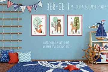 HappyWords® 3er Bilder Set - DIN A4 ohne Bilderrahmen | Bilder für Kinderzimmer & Bilder Babyzimmer | Junge Mädchen Baby | Kinder-Poster | Tiere Kinderbilder Kinderzimmer | (3er Set Waldtiere Retro) - 6