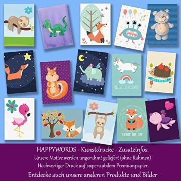 HappyWords® 3er Bilder Set - DIN A4 ohne Bilderrahmen | Bilder für Kinderzimmer & Bilder Babyzimmer | Junge Mädchen Baby | Kinder-Poster | Tiere Kinderbilder Kinderzimmer | (3er Set Waldtiere Retro) - 7