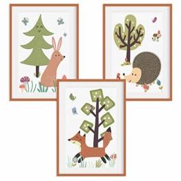 HappyWords® 3er Bilder Set - DIN A4 ohne Bilderrahmen | Bilder für Kinderzimmer & Bilder Babyzimmer | Junge Mädchen Baby | Kinder-Poster | Tiere Kinderbilder Kinderzimmer | 3er Set Waldtiere Retro 2 - 1