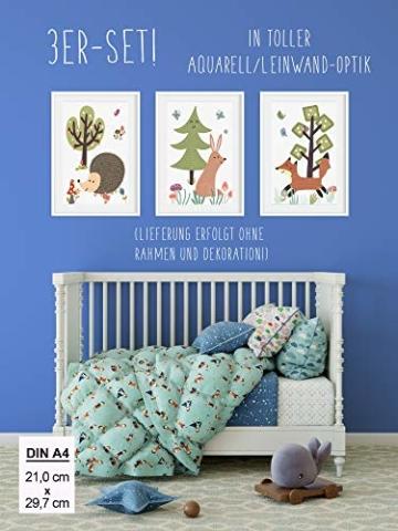 HappyWords® 3er Bilder Set - DIN A4 ohne Bilderrahmen | Bilder für Kinderzimmer & Bilder Babyzimmer | Junge Mädchen Baby | Kinder-Poster | Tiere Kinderbilder Kinderzimmer | 3er Set Waldtiere Retro 2 - 2