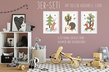 HappyWords® 3er Bilder Set - DIN A4 ohne Bilderrahmen | Bilder für Kinderzimmer & Bilder Babyzimmer | Junge Mädchen Baby | Kinder-Poster | Tiere Kinderbilder Kinderzimmer | 3er Set Waldtiere Retro 2 - 3