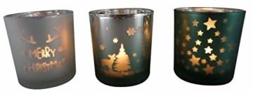 khevga Windlicht Weihnachten aus Glas im 3er Set - 1