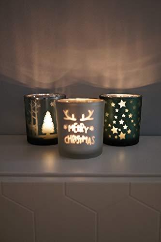 khevga Windlicht Weihnachten aus Glas im 3er Set - 5