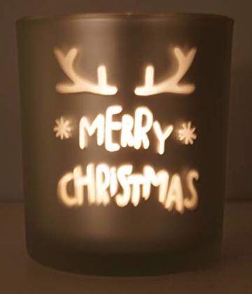 khevga Windlicht Weihnachten aus Glas im 3er Set - 6