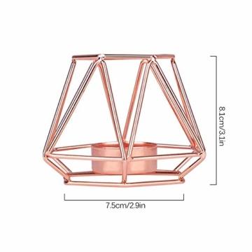 KOBWA - Teelichthalter aus Metall, geometrisch, Metalldraht, Eisen, Teelichthalter Laterne, Hochzeit, Feiertage, Veranstaltungen, Party-Dekorationen, metall, rose gold, Low Shape - 2