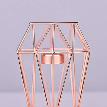 KOBWA - Teelichthalter aus Metall, geometrisch, Metalldraht, Eisen, Teelichthalter Laterne, Hochzeit, Feiertage, Veranstaltungen, Party-Dekorationen, metall, rose gold, Low Shape - 5