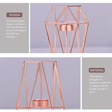 KOBWA - Teelichthalter aus Metall, geometrisch, Metalldraht, Eisen, Teelichthalter Laterne, Hochzeit, Feiertage, Veranstaltungen, Party-Dekorationen, metall, rose gold, Low Shape - 6