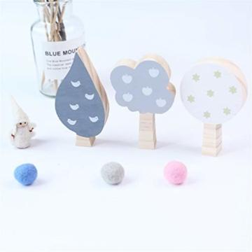KYMLL 3 Teile/Satz Holz Dekoration Handwerk Spielzeug Kinder Buchstützen Wand Dekor Holz Baum Kinderzimmer Dekoration Ornamente Set von 1 weiß grau dunkelgrau - 3