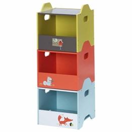 Labebe Baby Aufbewahrungsbox Set, Orange/Gelber/Blauer Spielzeugkiste Fuchs Gedruckt, Aufbewahrungsbox Stapelbar für Kinder, Stoffbox Aufbewahrung Kiste/Spielzeugbox Kinder/Aufbewahrungsbox Deckel - 1