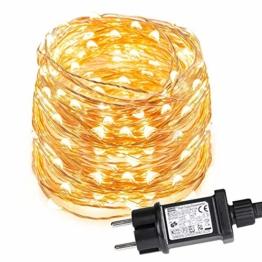 LE 12M LED Lichterkette Draht aus Kupferdraht, 100 LEDs, Wasserdicht IP65, Strombetrieben, ideal Stimmungslichter für Weihnachtsdeko Innen Außen Weihnachten Party Hochzeit usw. Warmweiß - 1