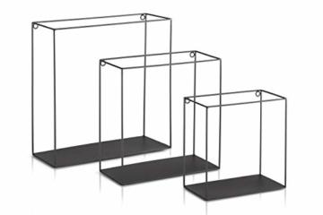 LIFA LIVING 3er Set Wandregal im Industrie Design, Schweberegal schwarz Metall, Elegante Wanddeko Quadrat als Bücherregale, Küche, Belastbarkeit 3 kg - 2