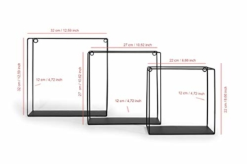 LIFA LIVING 3er Set Wandregal im Industrie Design, Schweberegal schwarz Metall, Elegante Wanddeko Quadrat als Bücherregale, Küche, Belastbarkeit 3 kg - 4